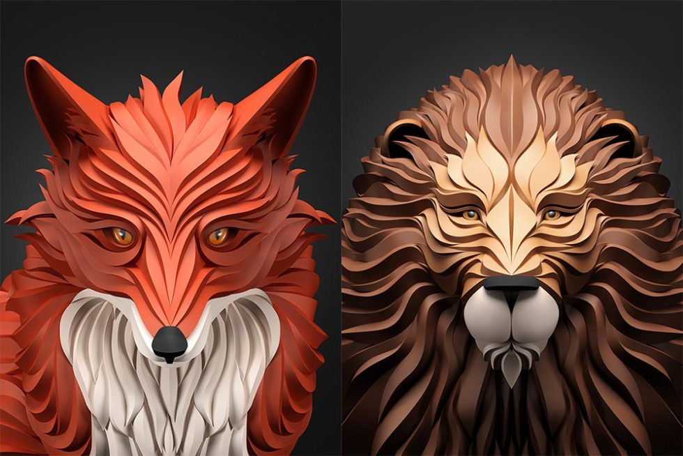 Elegant Carved Digital Portraits of Animals and People by Maxim Shkretby