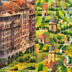 Beautiful architectural watercolors of a dreamlike Warsaw by Tytus Brzozowski