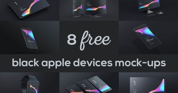 Download 8 Free Stunning Black Matte Devices Mockups
