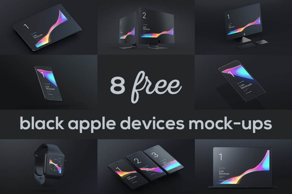 Download 8 Free Stunning Black Matte Apple Devices Mockups